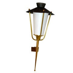 French 1950's Corner Mounted Lantern Sconce by Arlus