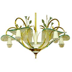 1950's Italian Chandelier Manner of Fontana Arte Etched Curved Glass Petals