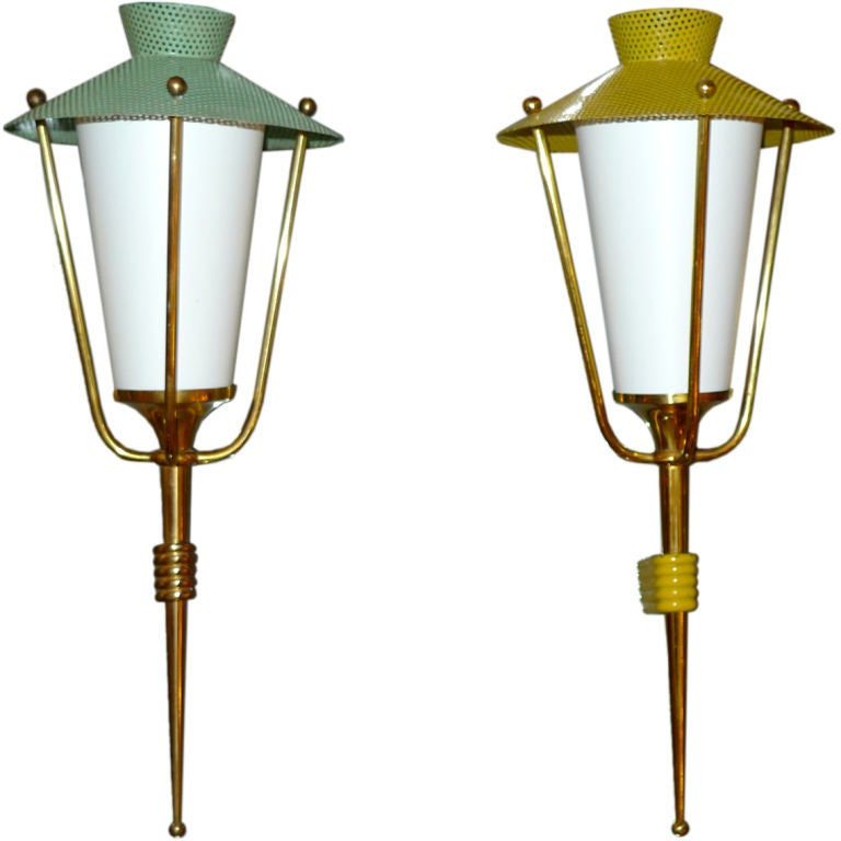 1950's French Lantern Wall Sconces by Arlus