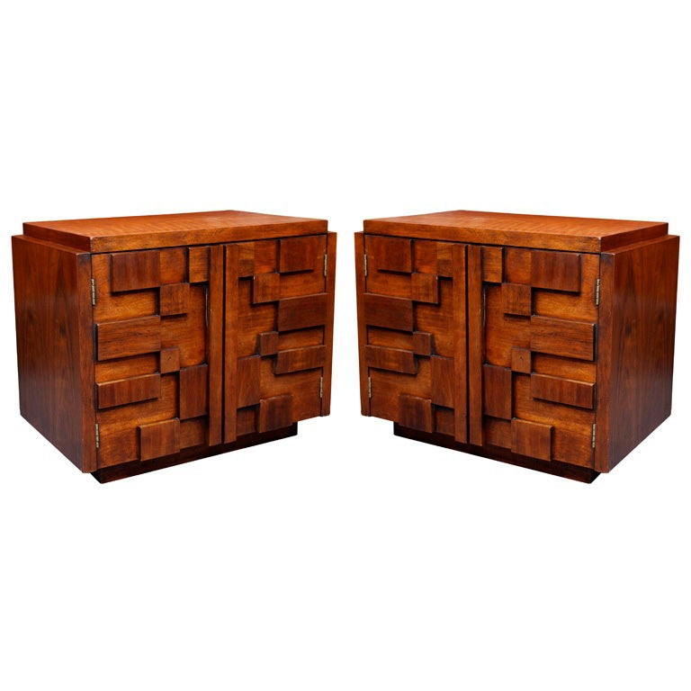 Pair of vintage 1970 39 s brutalist nightstands at 1stdibs for Fine woodworking magazine discount
