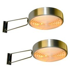 Oversized Pair of French Inox and Chrome Swing Arm Sconces