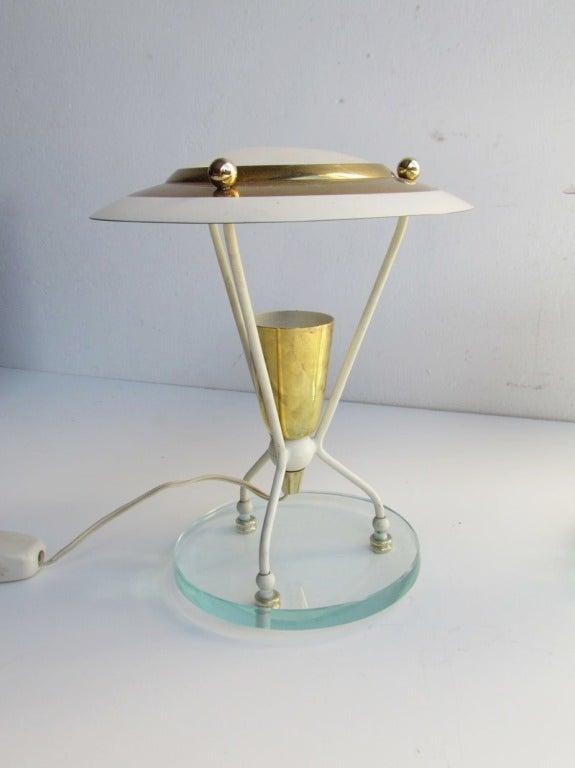 Mid-20th Century Pair of Petite Italian Boudoir Lamps For Sale