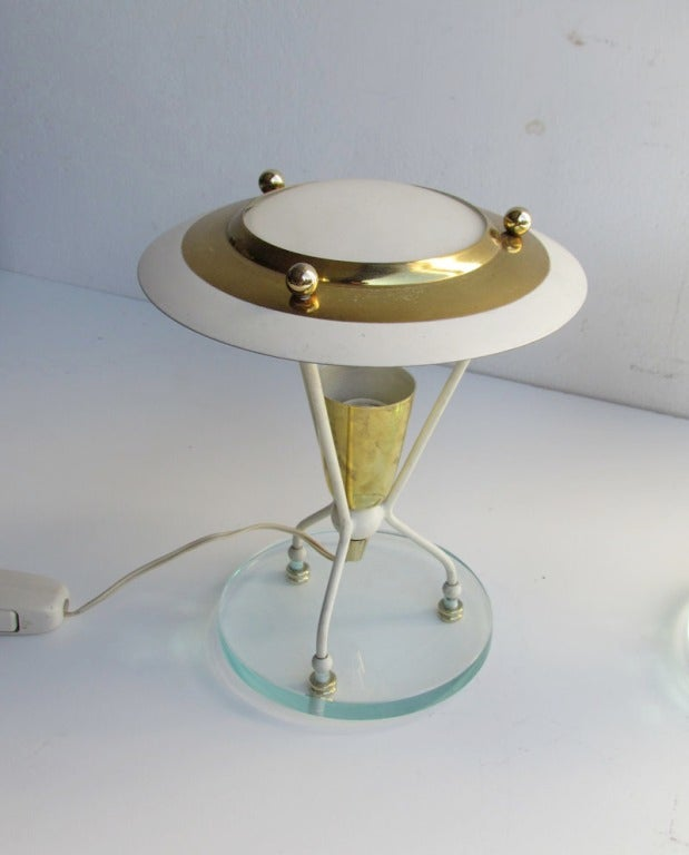 Glass Pair of Petite Italian Boudoir Lamps For Sale