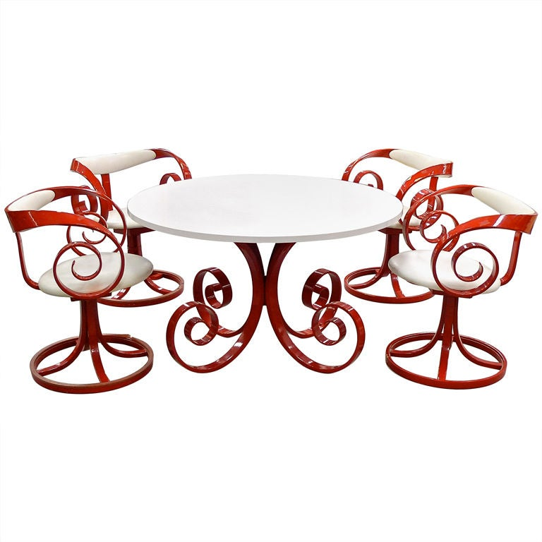 Four George Mulhauser for Plycraft Sultana Chairs with Round Table