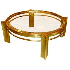 Mastercraft Round Brass Cocktail Table by WIlliam Doezema
