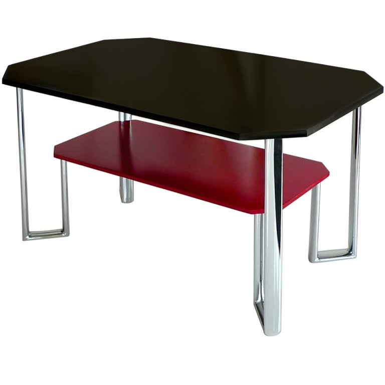 Bauhaus Two-Tier Chromium & Cellulosed Table from Heal and Son, 1931 For Sale