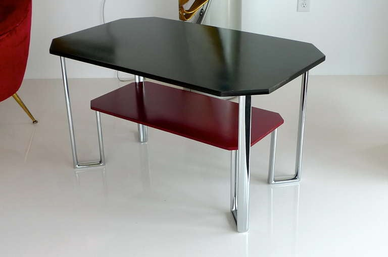 Mid-20th Century Bauhaus Two-Tier Chromium & Cellulosed Table from Heal and Son, 1931 For Sale