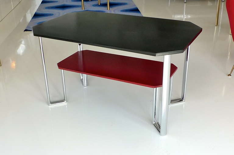British Bauhaus Two-Tier Chromium & Cellulosed Table from Heal and Son, 1931 For Sale