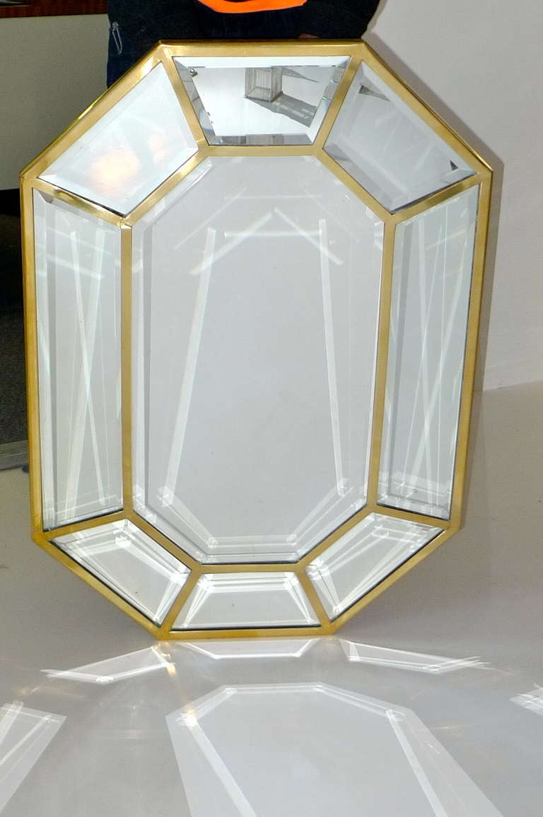 Italian brass octagonal mirror at 1stdibs for Octagon beveled mirror