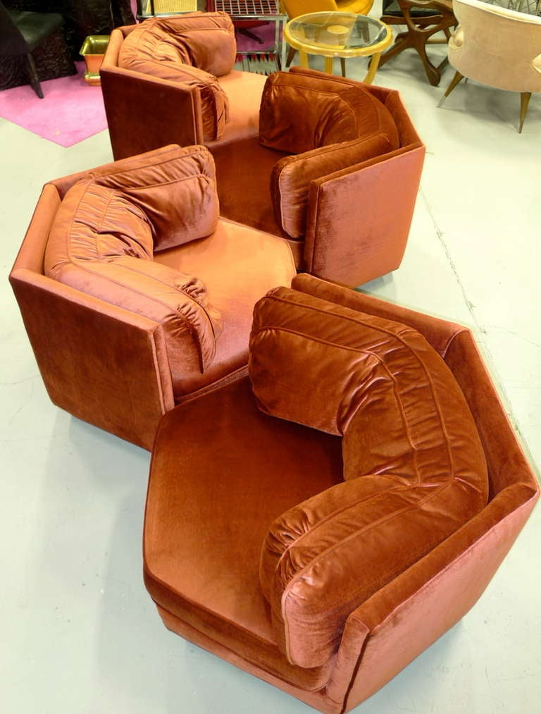 Hexagonal Club Chairs In Dr Pepper Velvet From American