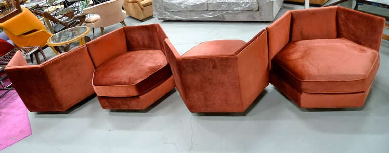 Hexagonal Club Chairs in 'Dr. Pepper' Velvet from American Hustle 2