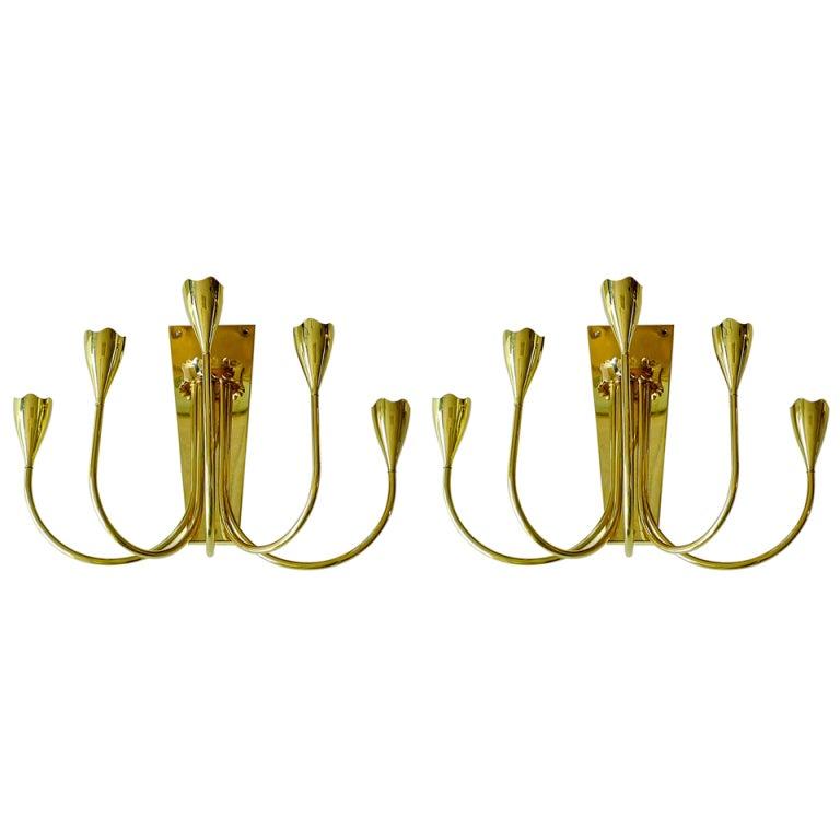 Pair of Stilnovo Brass Candelabra Sconces