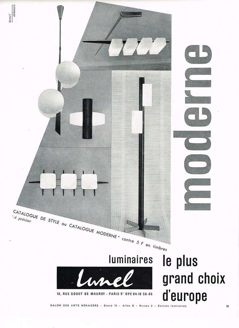 French 1950's Large Scale Wall or Ceiling Light by Lunel For Sale 4