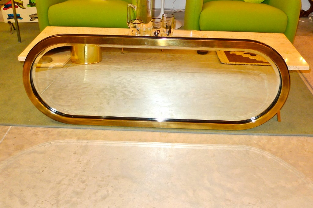 Mastercraft Brass Racetrack Mirror In Excellent Condition For Sale In Hingham, MA