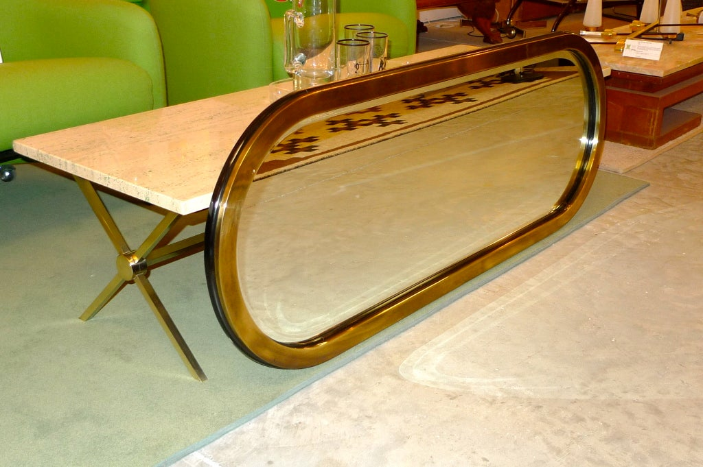 Mastercraft Brass Racetrack Mirror For Sale 1