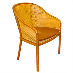 Ward Bennet Caned Arm Chair with Original Leather Seat Cushion