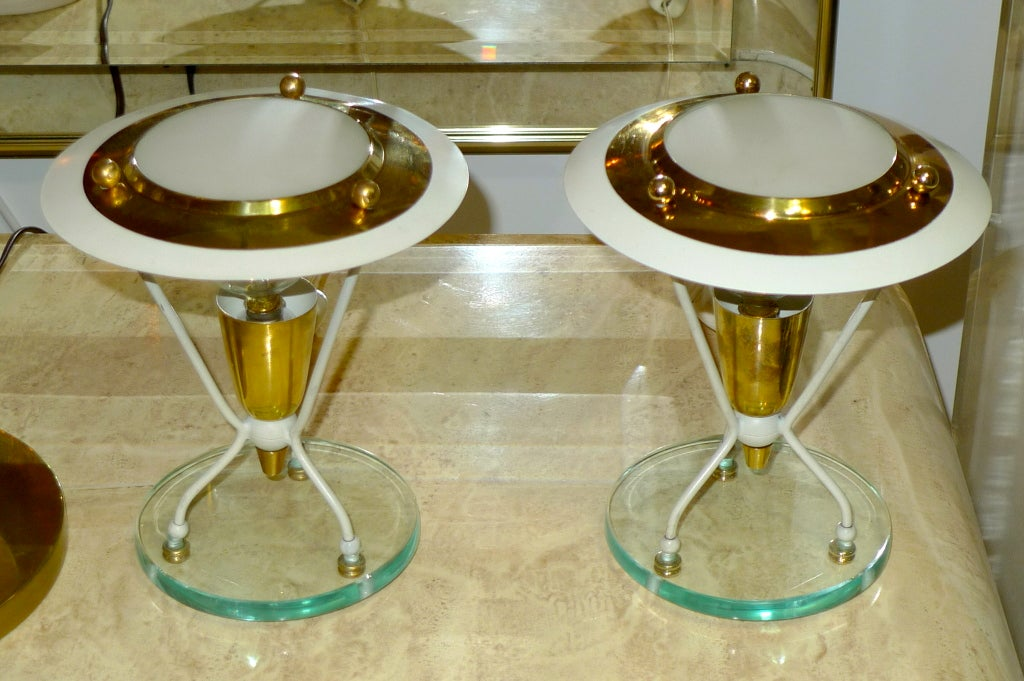 Pair of atrikingly stylish Italian 1940's boudoir lamps.