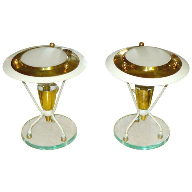 Pair of Petite Italian Boudoir Lamps For Sale