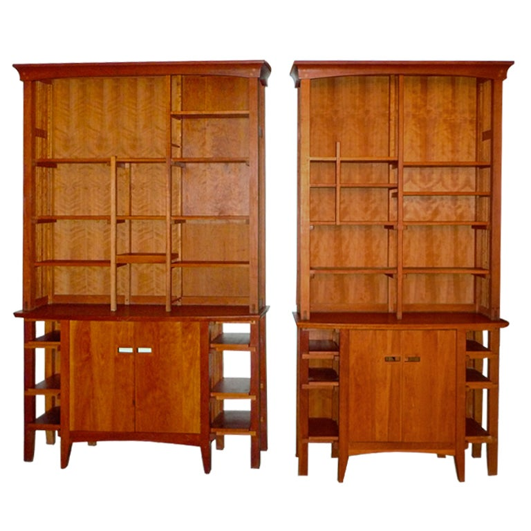 Solid Cherry Arts Crafts Style Credenza Book Shelves