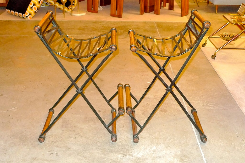 Pair of Cleo Baldon Bar Stools In Excellent Condition For Sale In Hingham, MA