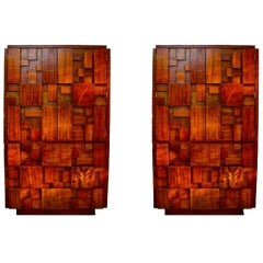 Pair of Brutalist Walnut Wardrobe Chests