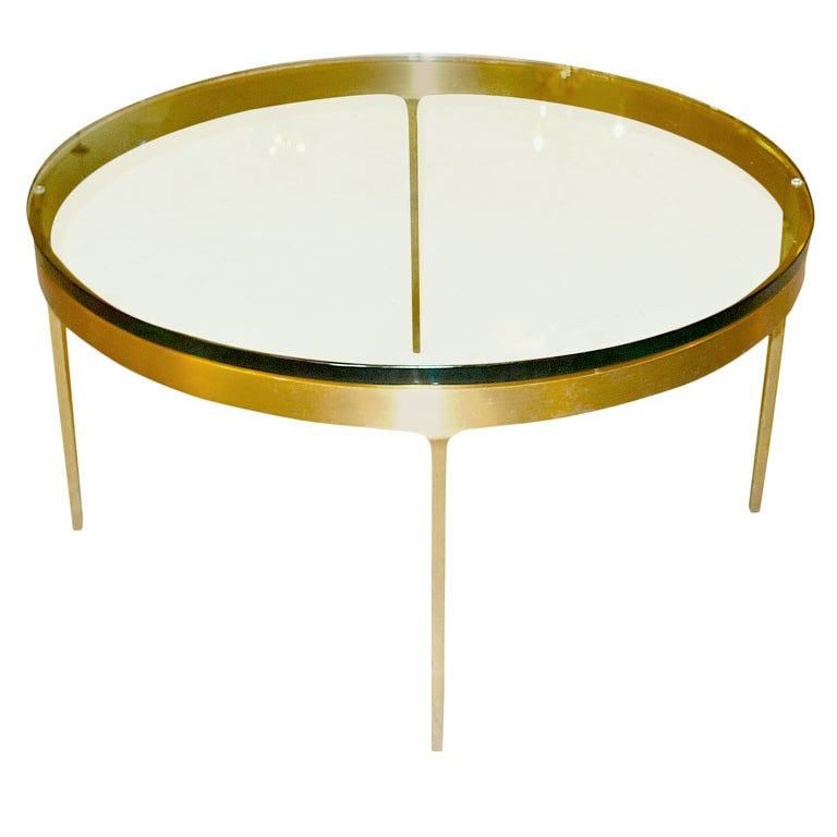 Bronze Metal Round Coffee Table: Nicos Zographos Round Bronze Cocktail Table At 1stdibs