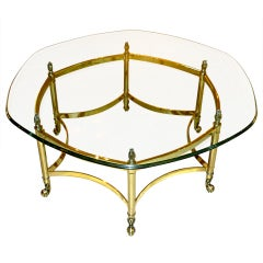 La Barge Brass Hexagonal Cocktail Table