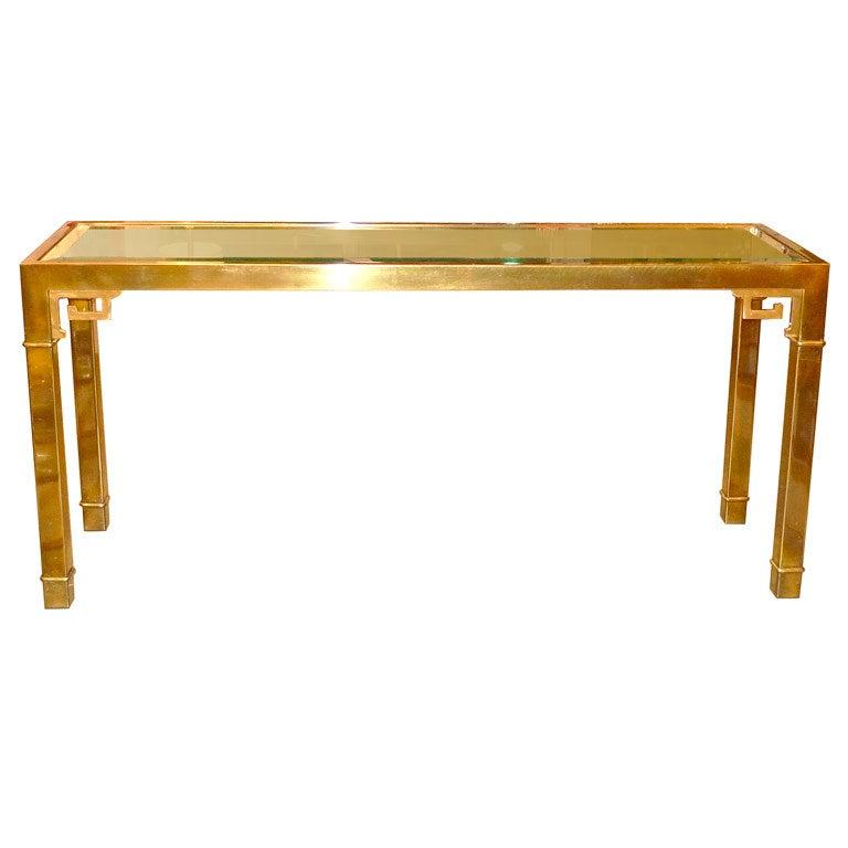mastercraft brass greek key long console table at 1stdibs