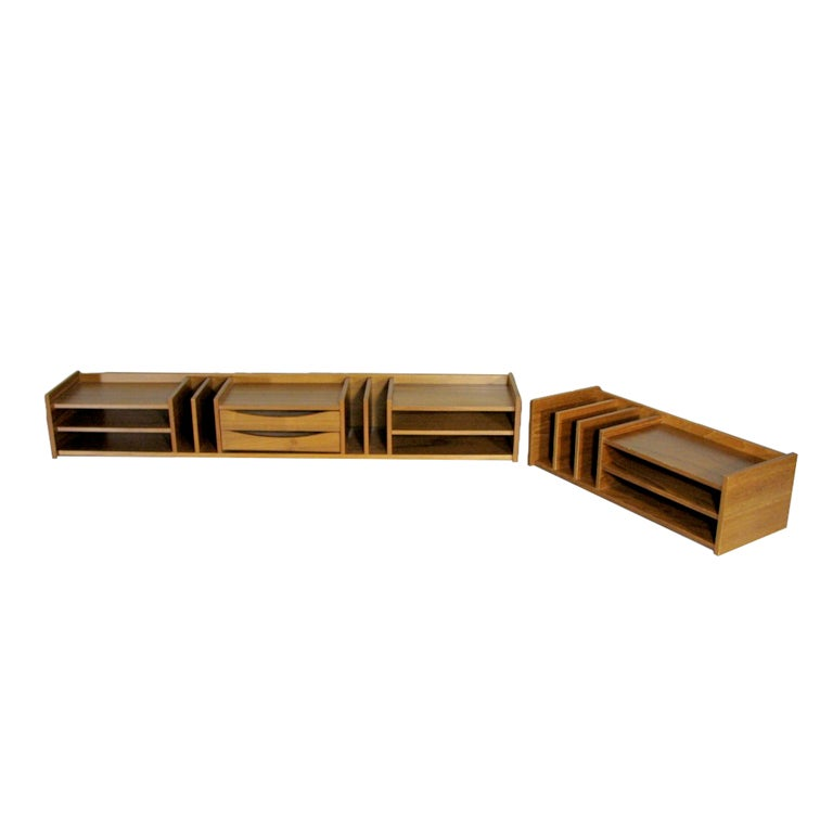Danish modern teak desk organizer by georg petersen - Designer desk accessories and organizers ...