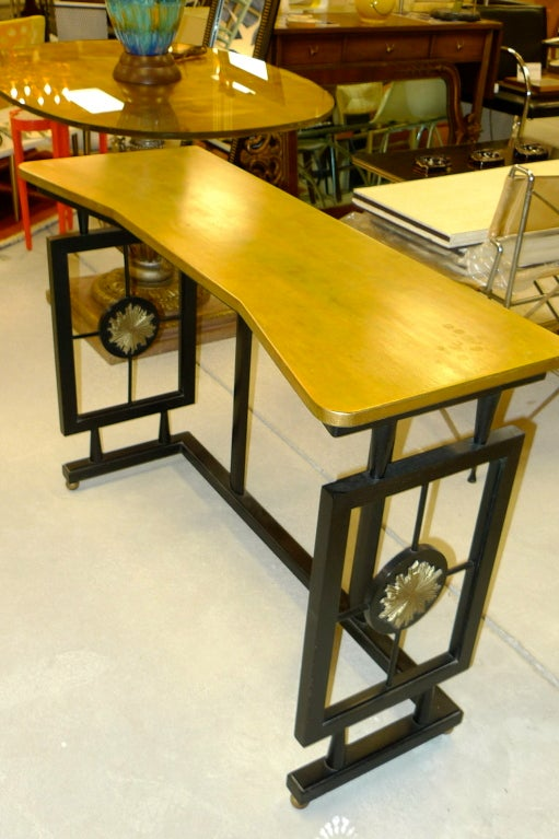 Hallway Console Table, Bench & Mirror in Manner of James Mont 5