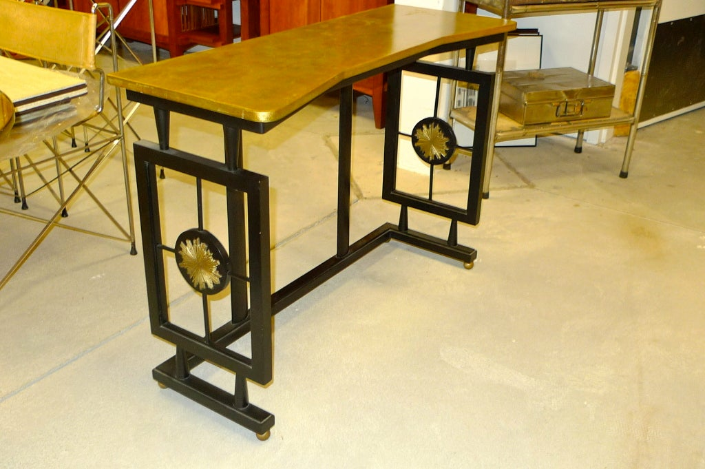 Hallway Console Table, Bench & Mirror in Manner of James Mont 6