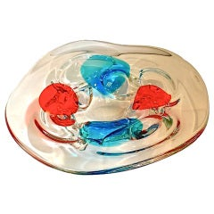 Murano Glass Charger Attributed to Fulvio Bianconi for Cenedese