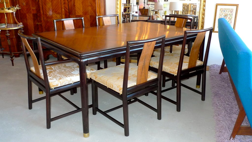 john stuart walnut and mahogany dining table and six chairs at 1stdibs