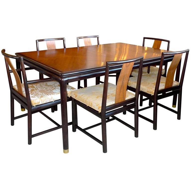 John Stuart Walnut & Mahogany Dining Table and Six Chairs