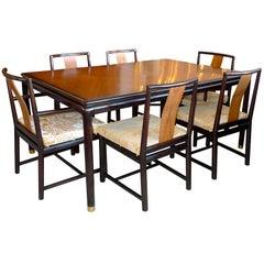 John Stuart Walnut & Mahogany Dining Table and Six Chairs