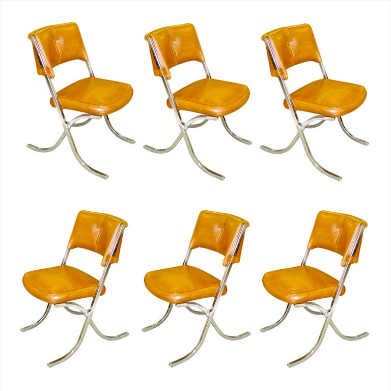 Set of 6 1970s Barcelona Style Dining Chairs at 1stdibs