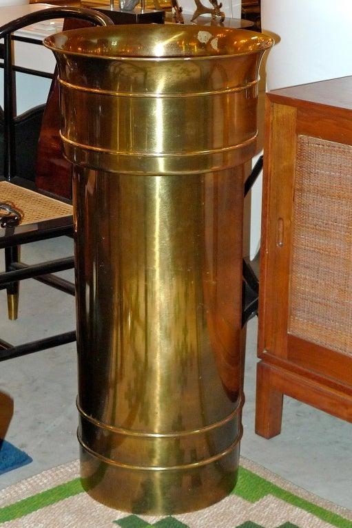 Hollywood Regency Mastercraft Patinated Brass Pedestal Jardiniere For Sale
