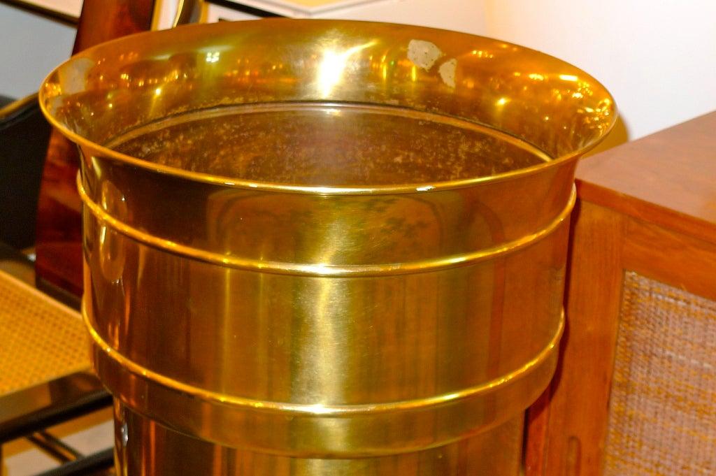 American Mastercraft Patinated Brass Pedestal Jardiniere For Sale