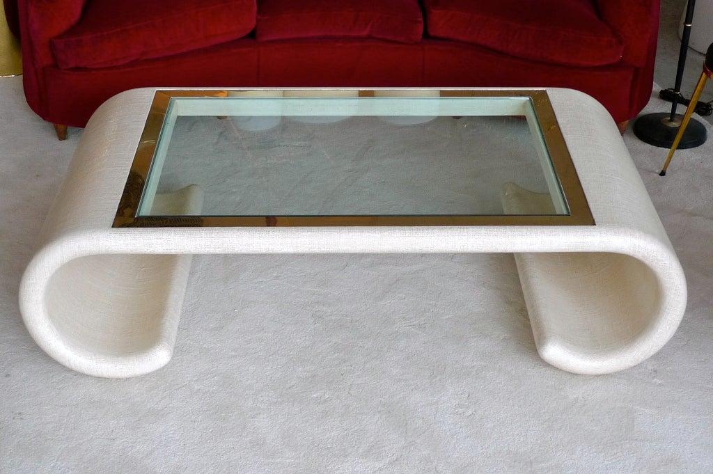 Ernest C. Masi Linen Wrapped Scrolled Cocktail Table 2