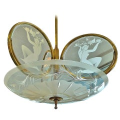 1940's Italian Etched Glass Three Ring Chandelier