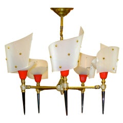 French 1950's Five Plexi Torch Chandelier