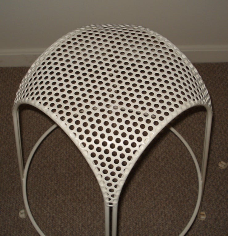 Pair Of Perforated Enameled Iron Stools At 1stdibs