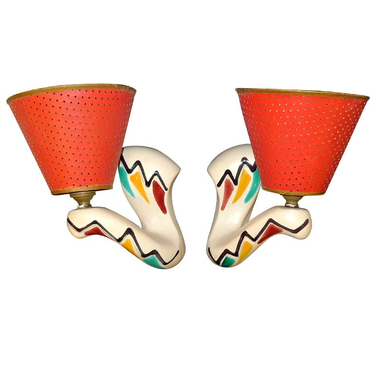 Whimsical French 1950's Ceramic Sconces