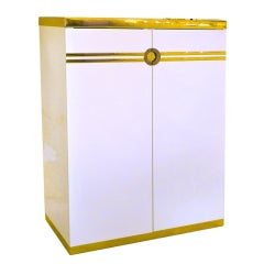 Pierre Cardin Tall Chest of Drawers Brass & Ivory