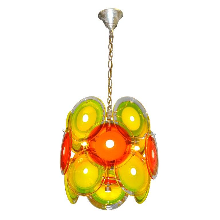 Vistosi Orange & Yellow Murano Glass Disk Chandelier
