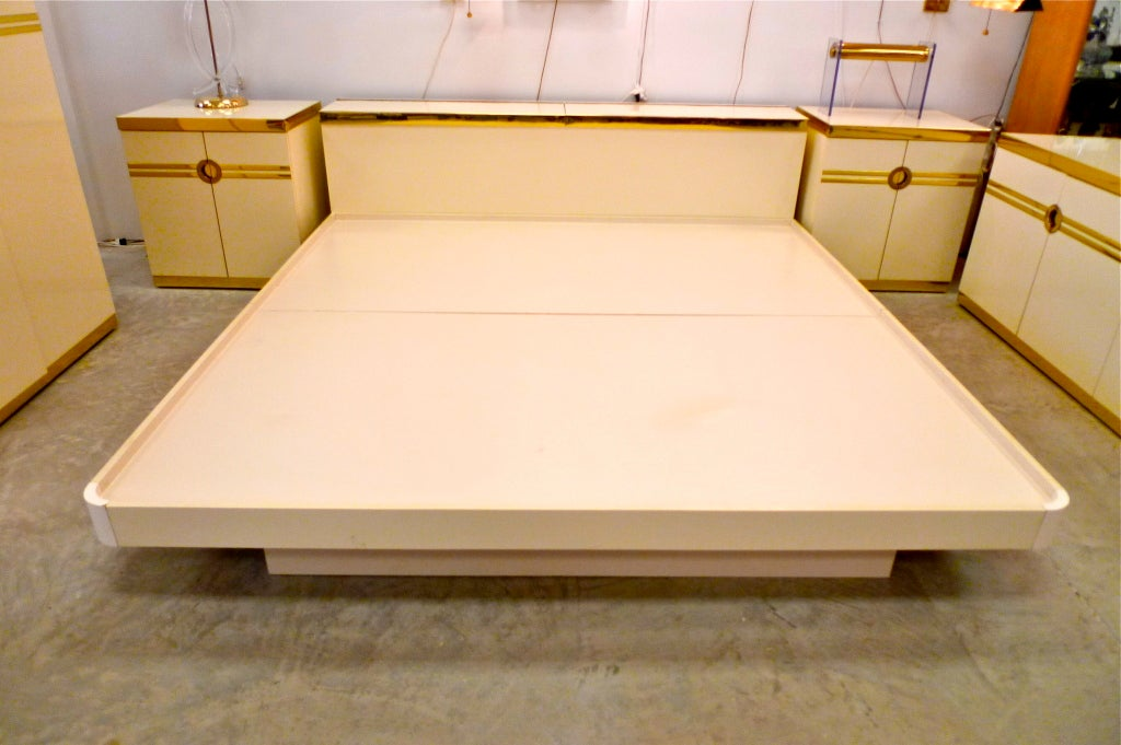 Pierre Cardin King Size Platform Bed And Headboard Cabinet At 1stdibs