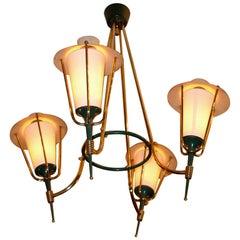 Quad Lantern Hoop Chandelier by Maison Arlus, France