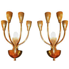 Pair of 1950's Italian Brass Candelabra Sconces