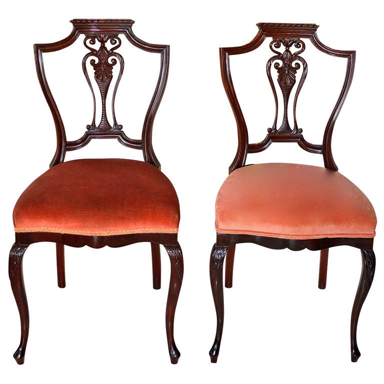 Pair of Petite Mahogany Salon Chairs