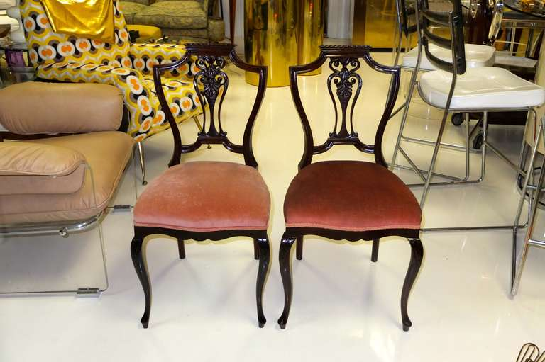Chippendale Pair of Petite Mahogany Salon Chairs For Sale